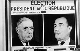 L'Ifop annonce sur Europe 1 la mise en ballottage du Général de Gaulle au 1er tour de l'élection présidentielle dès la clôture des urnes
